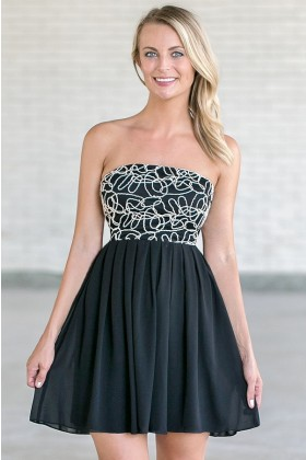 Tangled Webs Strapless Dress in Black