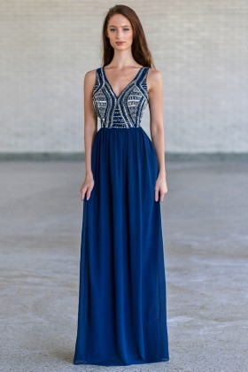 Bold and Beaded Maxi Dress in Navy