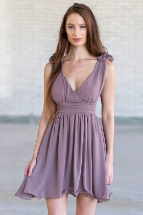 Rosette Shoulder Dress in Lavender Grey