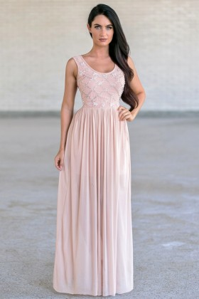All In The Details Pearl Beaded Maxi Dress in Pale Pink