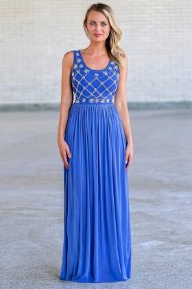 Blue Pearl Maxi Formal Prom Dress