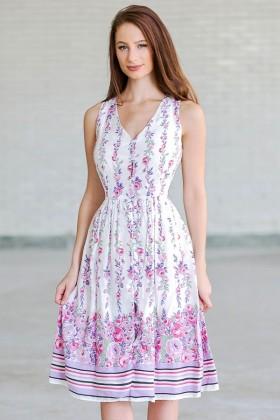Lavender Rose Button Front Floral Print Midi Sundress