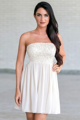 Tangled Webs Strapless Dress in Ivory