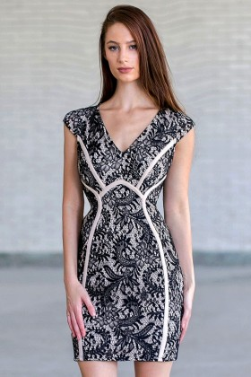 Classy Contrast Fabric Piping Capsleeve Lace Dress in Black/Beige