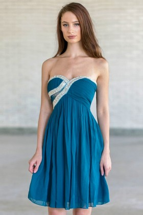 Glisten To Your Heart Embellished Dress in Teal