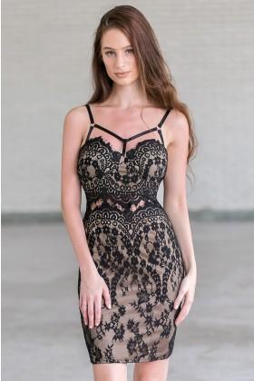 Black Lace Bodycon Dress, Cute Little Black Dress