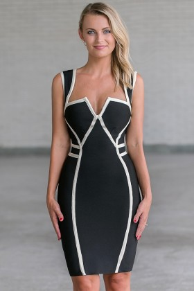 Black and White Trim Bodycon Dress, Cute Sexy Black Cocktail Dress