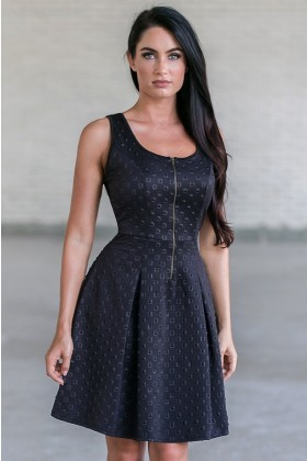 Black Zip Front A-Line Dress, Cute little Black Dress