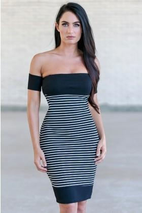 Black and White Stripe Off Shoulder Dress