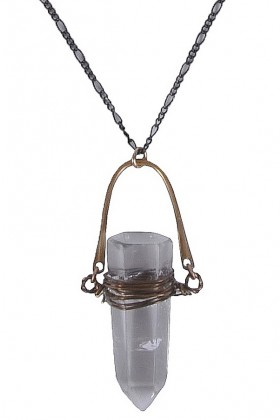Bronze and Crystal Clear Pendant, Cute Boho Necklace