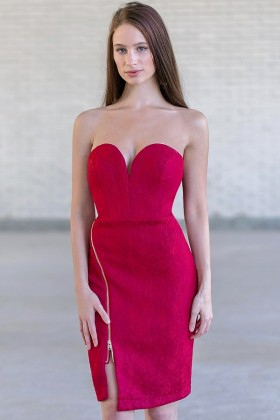 Strapless Wine Red Cocktail Dress, Wine Red Party Dress Online