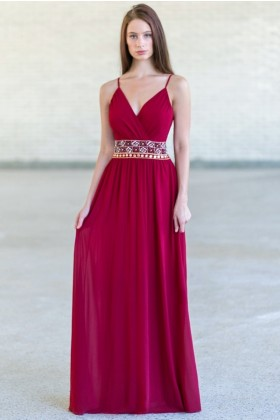 Burgundy Red Maxi Embellished Bridesmaid Dress