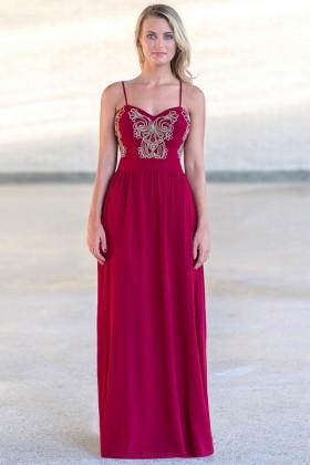 0d0e5e345890 Pure Enchantment Embroidered Chiffon Maxi Dress in Wine