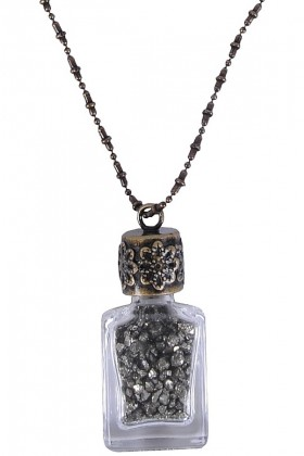 Pyrite Bottle Necklace, Cute Boho Pendant