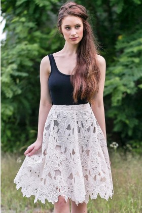 Ivory A-Line Lace Skirt, Cute Summer Skirt