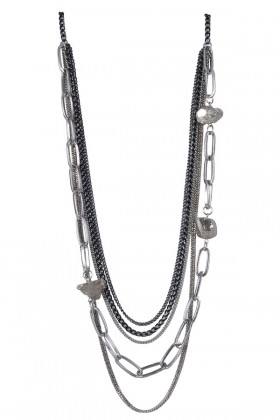 Silver Layered Pyrite Necklace, Cute Boho Jewelry