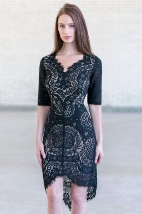 Cute Black High Low Eyelet Dress