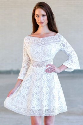 Ivory Bell Sleeve Lace Dress, Rehearsal dinner dress