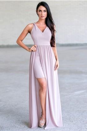 Beige Maxi Prom Formal Bridesmaid Dress