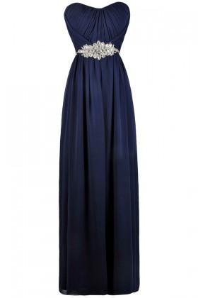 Navy Rhinestone Embellished Formal Maxi Dress