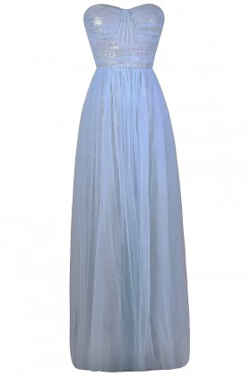Sky Blue and Silver Formal Prom Dress, Pale Blue Maxi Dress