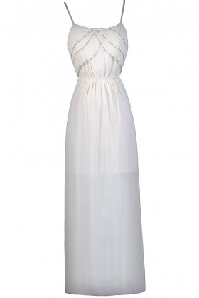 Cream Beaded Maxi Dress, Great Gatsby 1920s Dress, Cute Summer Dress