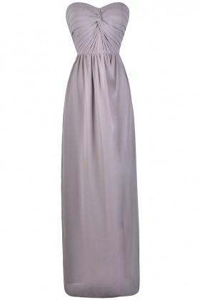 Grey Chiffon Maxi Bridesmaid Dress