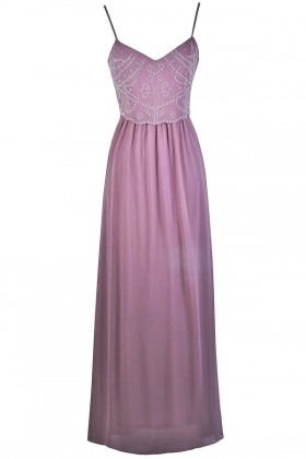 Purple Beaded Maxi Prom Bridesmaid Dress