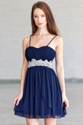 Navy Midnight Blue Embellished Party Dress