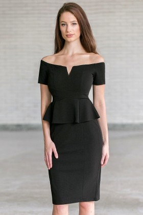 Black Off Shoulder Peplum Pencil Dress, Little Black Cocktail Dress