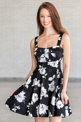 faca053d13c Black and White A-Line Floral Print Sundress