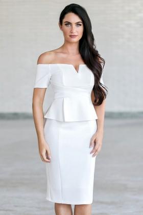 Off White Off Shoulder Peplum Pencil Dress, Cute Work Sheath Dress