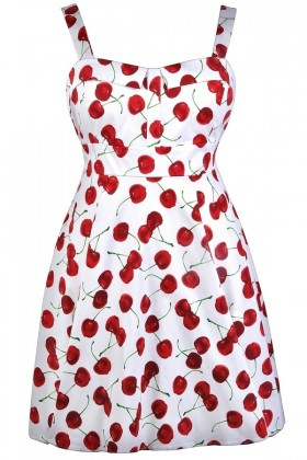 Red Cherry Print Dress, Plus Size Dress, Retro Dress