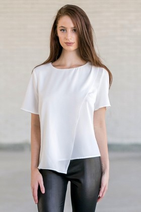 Cute Off White Asymmetrical Top, Cute Outfit for Juniors