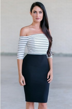 black and white stripe off the shoulder pencil dress, cute cocktail dress