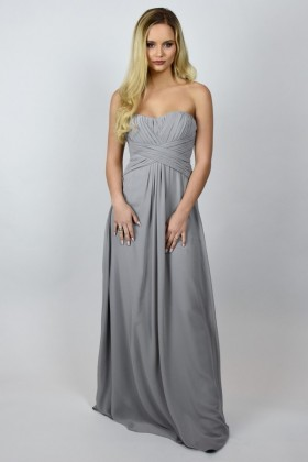 e9328fe7448 Bridesmaid For You Strapless Maxi Dress in Stone Grey