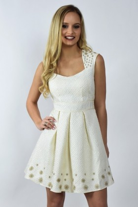 Ivory Metallic A-Line Party Rehearsal Dinner Dress