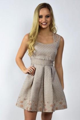 Mocha Light Brown Metallic Holiday A-Line Party Dress