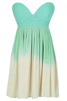 Cotton Candy Ombre Strapless Lace Bustier Dress in Green/Beige