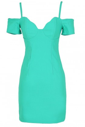Cold Shoulder Bodycon Bustier Dress in Jade