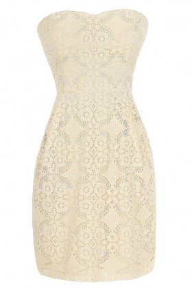 Graceful Lace Strapless Dress in Beige