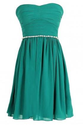 Green Pearl Embellished Bridesmaid Dress