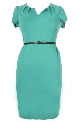 Posh and Professional Belted Pencil Dress in Jade - Plus Size