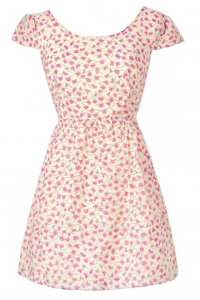 Pink and Ivory Floral Print Dress, Pink Ditsy Floral Print Dress, Pink and Ivory Capsleeve Sundress
