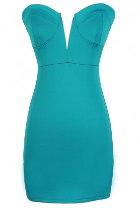 Sexy Teal Dress, Teal Bodycon Dress, Teal Bustier Dress, Teal Plunging Neckline Dress, Teal Club Dress, Cute Teal Dress