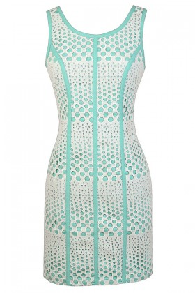 Cute Mint Dress, Mint Lace Dress, Mint and Ivory Eyelet Lace Dress, Mint and Ivory Sheath Dress, Mint and Ivory Summer Dress, Dotted Eyelet Lace Dress, Cutout Lace Mint Dress