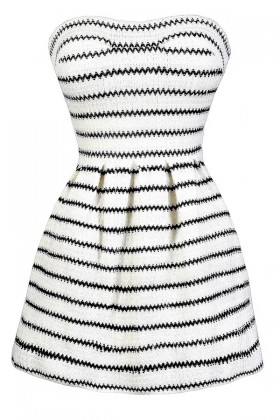 Cute Black and Ivory Stripe Dress, Black and Ivory A-Line Dress, Black and Ivory Stripe Dress, Cute Black and Off White Summer Dress, Black and Ivory Dress