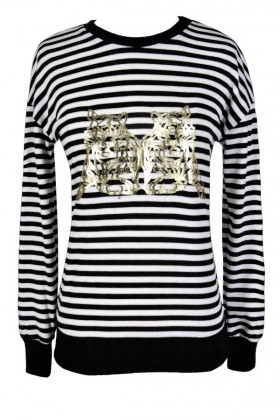 Black and Ivory Tiger Top, Black and Ivory Metallic Tiger Top, Cute Tiger Top, Tiger Emblem Top, Black White and Gold Tiger Top