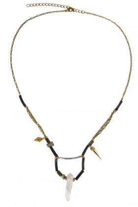 Crystal Necklace, Cute Crystal Necklace, Cute Mineral Necklace, Silver Crystal Necklace, Silver and Gold Crystal Necklace, Silver Mineral Necklace