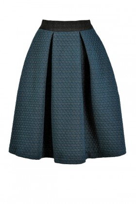 Teal A-Line Skirt, Green A-Line Skirt, Cute Fall Skirt, Cute Winter Skirt, Teal Quilted Skirt